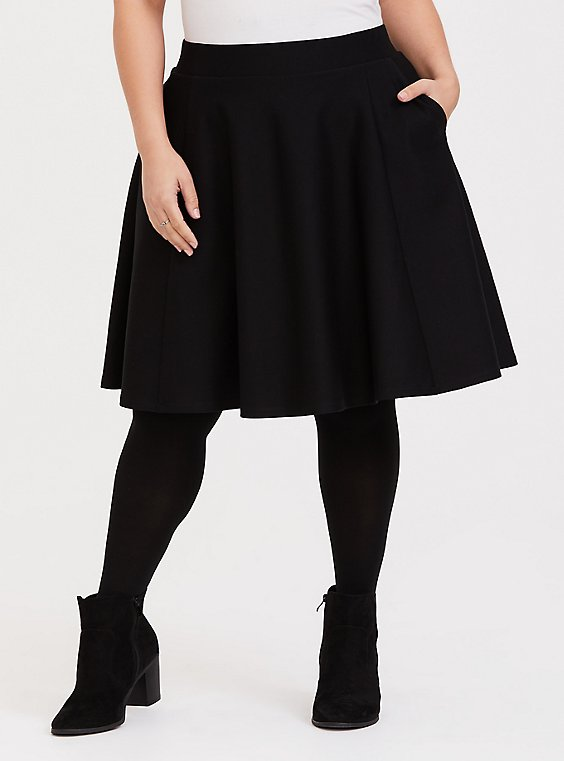 Black Premium Ponte A-Line Skirt, DEEP BLACK, hi-res