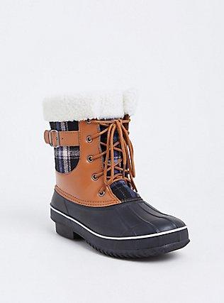 Plaid Cognac Faux Leather & Faux Shearling Cold-Weather Bootie, TAN/BEIGE, hi-res