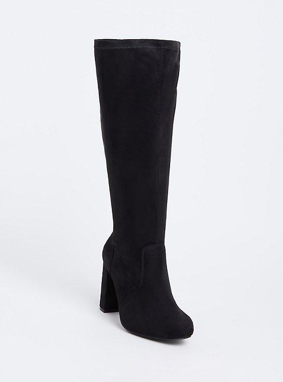 Black Faux Suede Knee-High Block Heel Boot (Wide Width), , hi-res