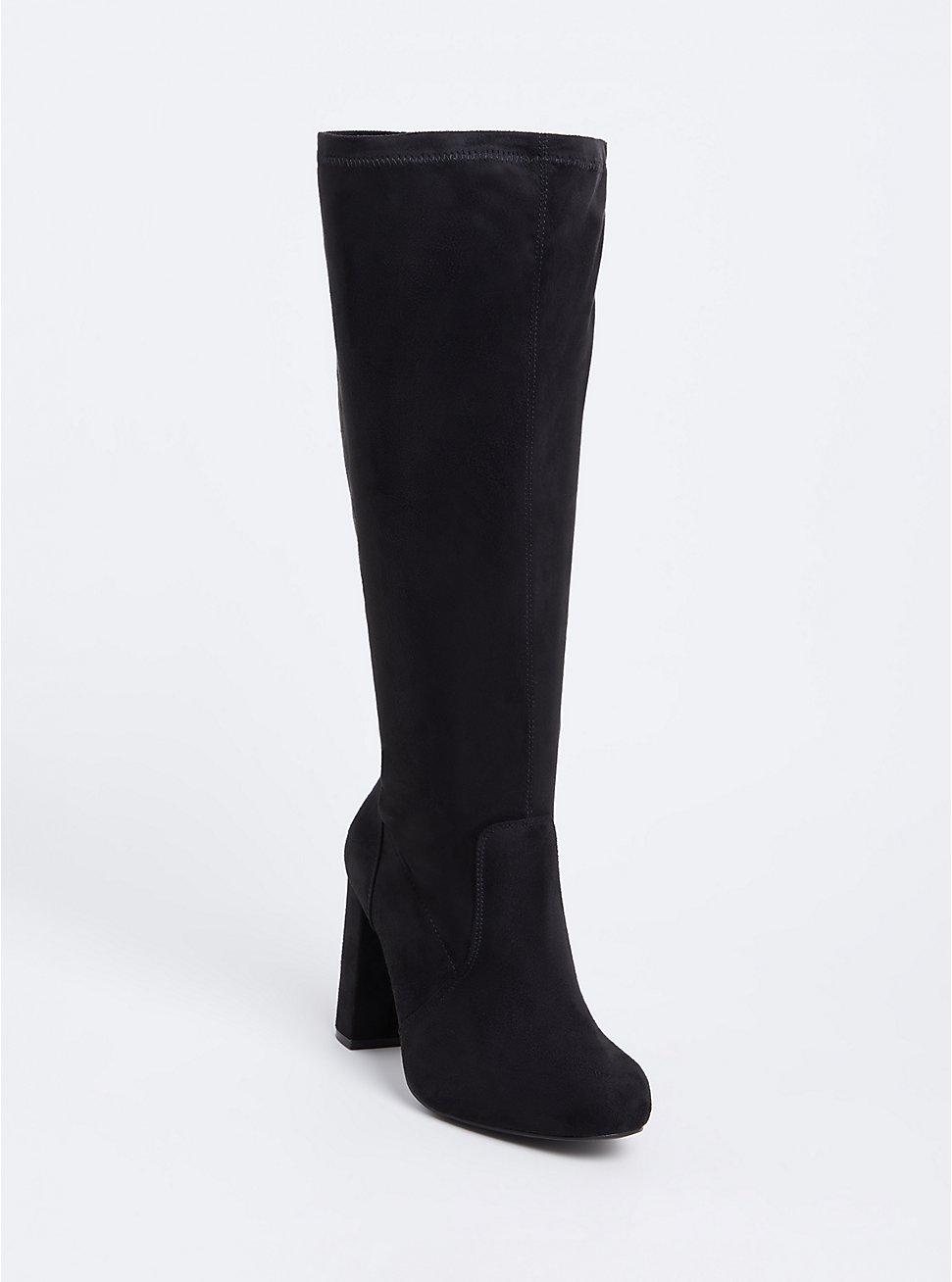 Black Faux Suede Knee-High Block Heel Boot (WW), BLACK, hi-res