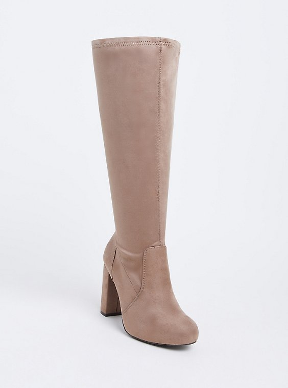 Plus Size Tan Faux Suede Barrel Knee-High Boot (Wide Width), , hi-res