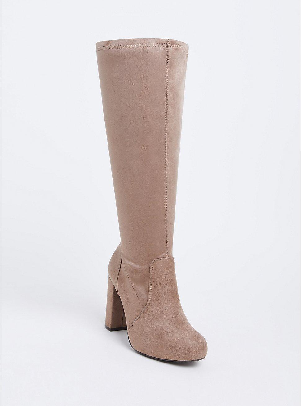 Tan Faux Suede Barrel Knee-High Boot (WW), TAN/BEIGE, hi-res