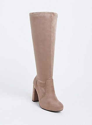 Tan Faux Suede Barrel Knee-High Boot (Wide Width), , hi-res