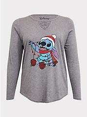 Disney Holiday Lilo & Stitch Grey Lattice Long Sleeve Top, HEATHER GREY, hi-res
