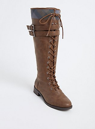 Outlander Thistle Logo Plaid Knee-High Lace-Up Boot (Wide Width), BROWN, hi-res
