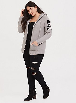 Plus Size Grey Skull & Bones Zip Hoodie, GREY, alternate