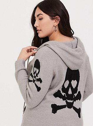Plus Size Grey Skull & Bones Zip Hoodie, GREY, hi-res