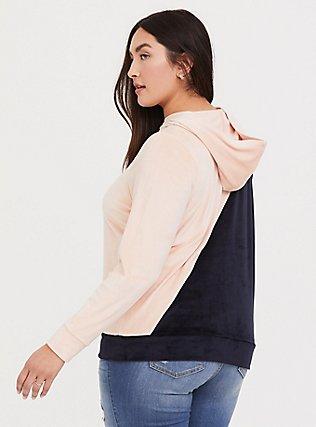 Blush Pink & Navy Colorblock Velour Hoodie, PALE BLUSH, alternate