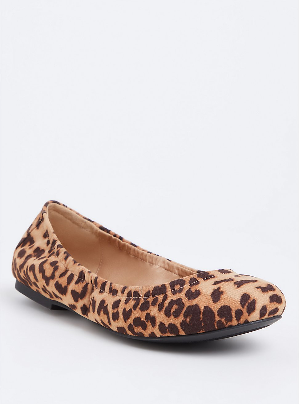 Leopard Faux Suede Scrunch Ballet Flat (WW), ANIMAL, hi-res