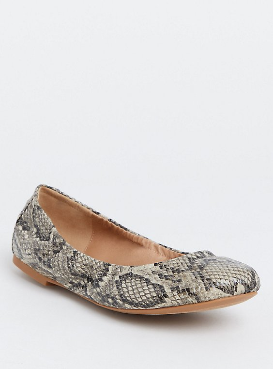 Plus Size Snakeskin Print Faux Leather Scrunch Ballet Flat (Wide Width), , hi-res