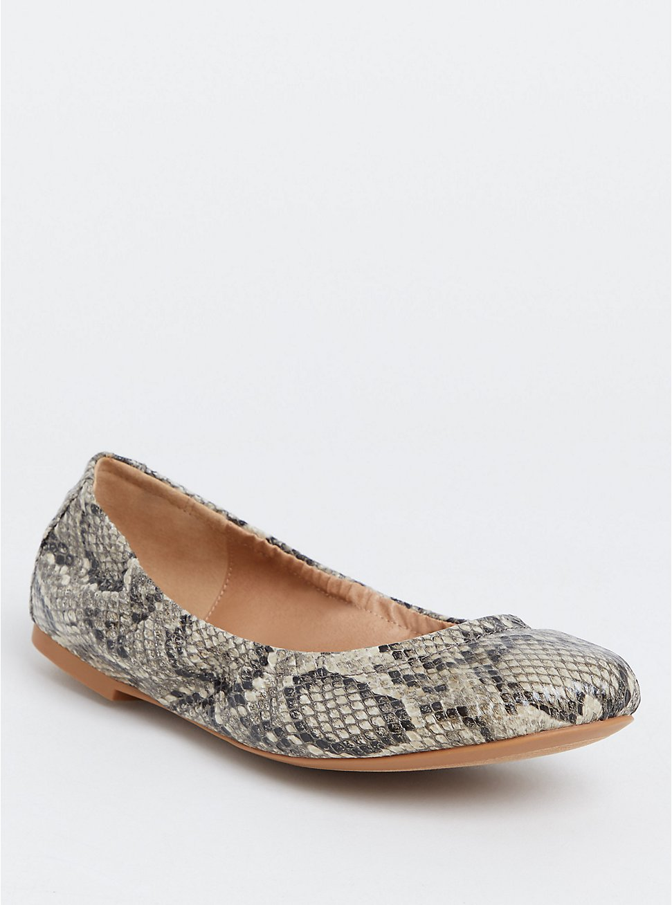 Snakeskin Print Faux Leather Scrunch Ballet Flat (Wide Width), ANIMAL, hi-res