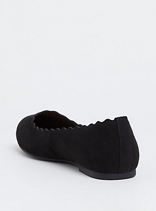 Black Faux Suede Scalloped Flat (WW), BLACK, alternate