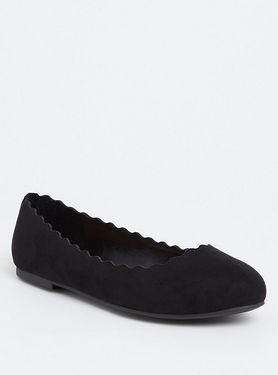 Black Faux Suede Scalloped Flat (WW), , hi-res