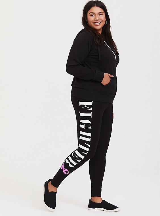 Plus Size Breast Cancer Awareness - Premium Legging Fighter Black, , hi-res