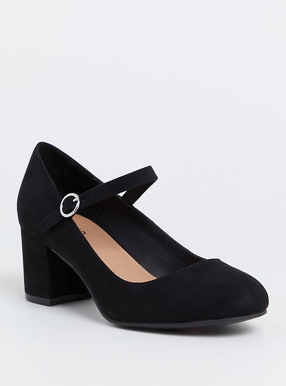 Black Faux Suede Mary Jane Pump (Wide Width), , hi-res