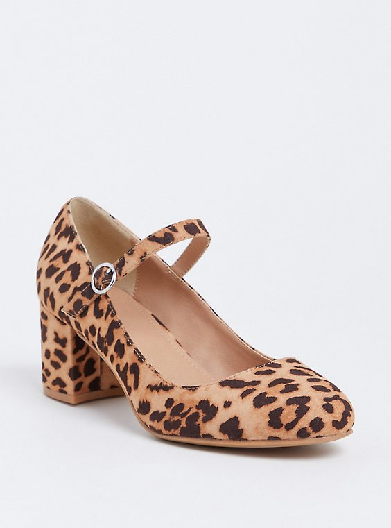 Leopard Faux Suede Mary Jane Pump (WW), , hi-res