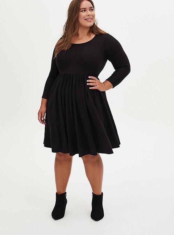 Super Soft Plush Black Scoop Neck Skater Dress, DEEP BLACK, hi-res