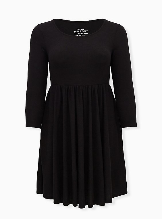 Super Soft Plush Black Scoop Neck Skater Dress, DEEP BLACK, ls