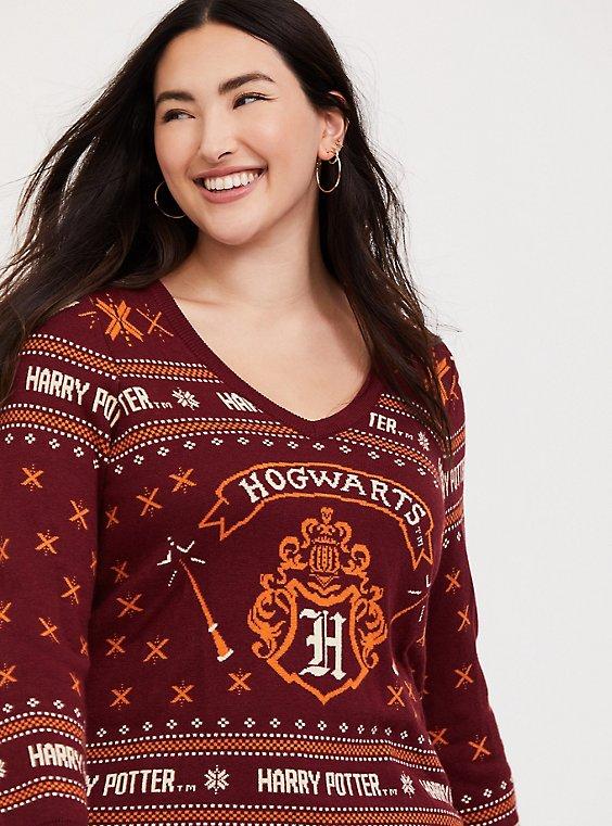 Harry Potter Hogwarts Crest Dark Red Holiday Sweater, , hi-res