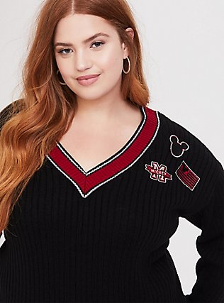Plus Size Disney Mickey Mouse Varsity Patch Black Sweater, DEEP BLACK, hi-res