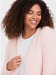 Light Pink Fuzzy Cardigan, PALE BLUSH, alternate