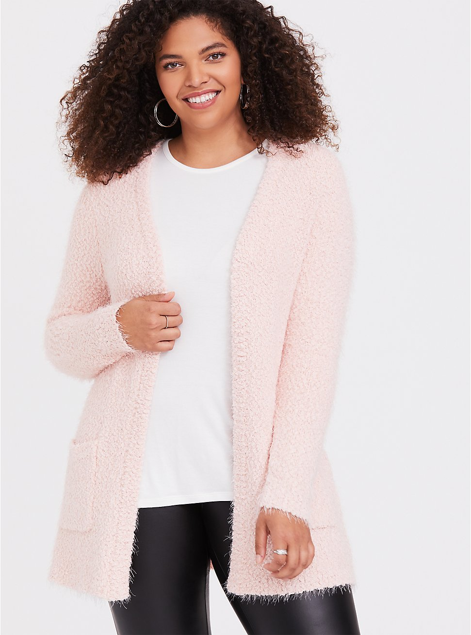 Light Pink Fuzzy Cardigan, PALE BLUSH, hi-res