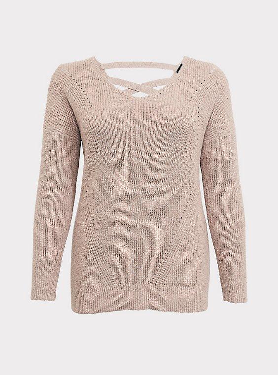 Tan Crisscross Back Tunic Sweater, , flat