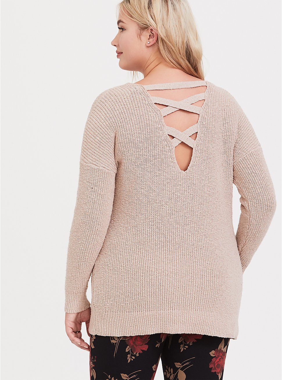 Tan Crisscross Back Tunic Sweater, MUSHROOM, hi-res