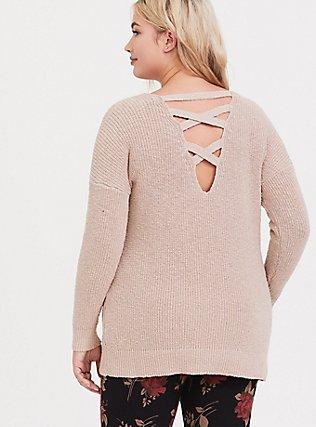Tan Crisscross Back Tunic Sweater, MUSHROOM, hi-res