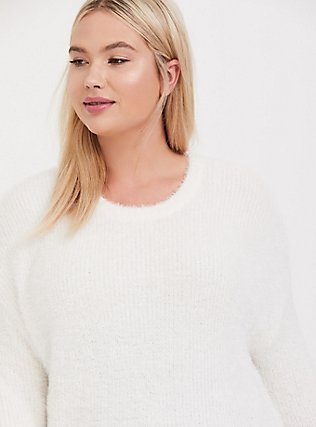 Ivory Fuzzy Knit Crop Pullover Sweater, CLOUD DANCER, hi-res