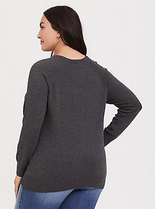 Plus Size Charcoal Grey Lips Graphic Sweatshirt, CHARCOAL HEATHER, alternate