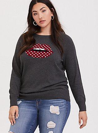 Plus Size Charcoal Grey Lips Graphic Sweatshirt, CHARCOAL HEATHER, hi-res