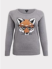 Grey Fox Raglan Sweatshirt, HEATHER GREY, hi-res