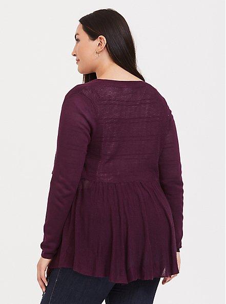 Burgundy Purple Draped Open Front Cardigan, HIGHLAND THISTLE, alternate