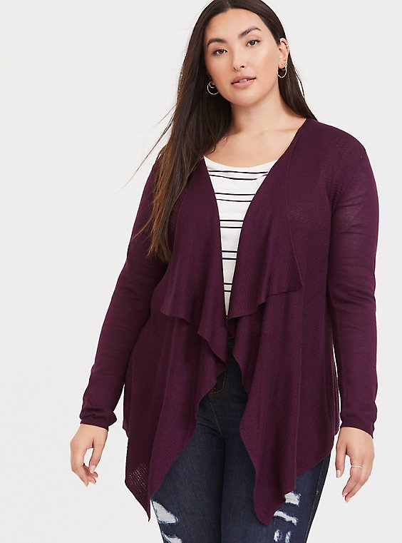 Burgundy Purple Draped Open Front Cardigan, , hi-res