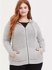 Light Grey Marled Zip Hoodie, HEATHER GREY, alternate