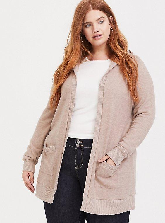 Plus Size Super Soft Plush Taupe Hooded Cardigan, MUSHROOM, hi-res