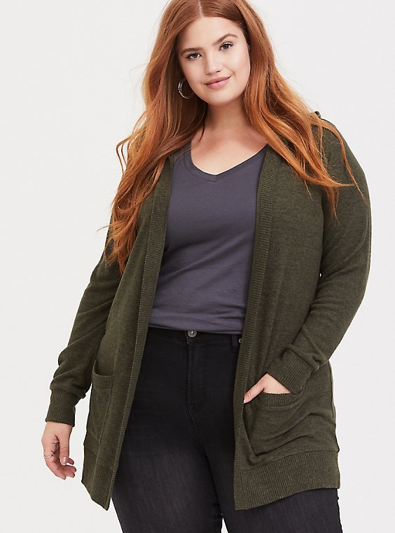 Super Soft Plush Olive Green Hooded Cardigan, , hi-res