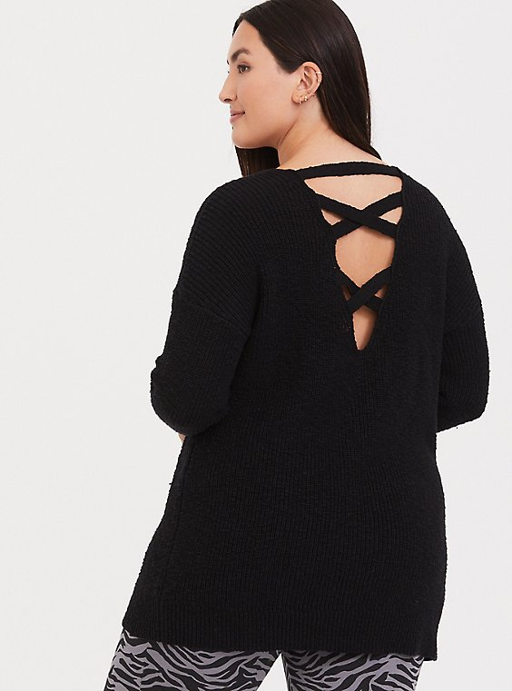 Black Crisscross Back Tunic Sweater, , hi-res