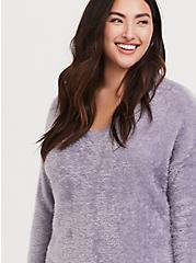 Purple V-Neck Eyelash Knit Slouchy Pullover, GREY, alternate