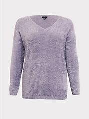 Purple V-Neck Eyelash Knit Slouchy Pullover, GREY, hi-res