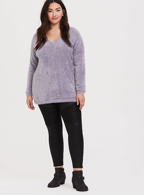 Purple V-Neck Eyelash Knit Slouchy Pullover, , hi-res