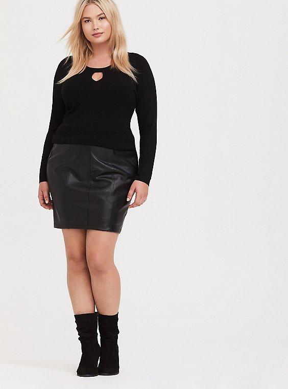 Plus Size Black Sweater-Knit Keyhole Top, , hi-res