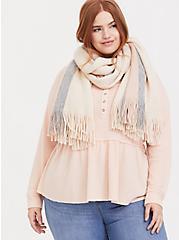 Pink & Grey Multi Stripe Fringe Scarf, , alternate