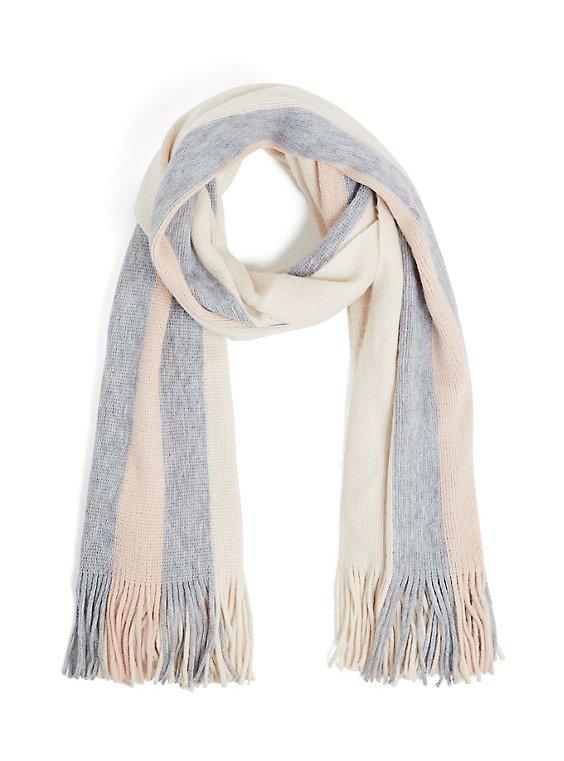 Plus Size Pink & Grey Multi Stripe Fringe Scarf, , hi-res