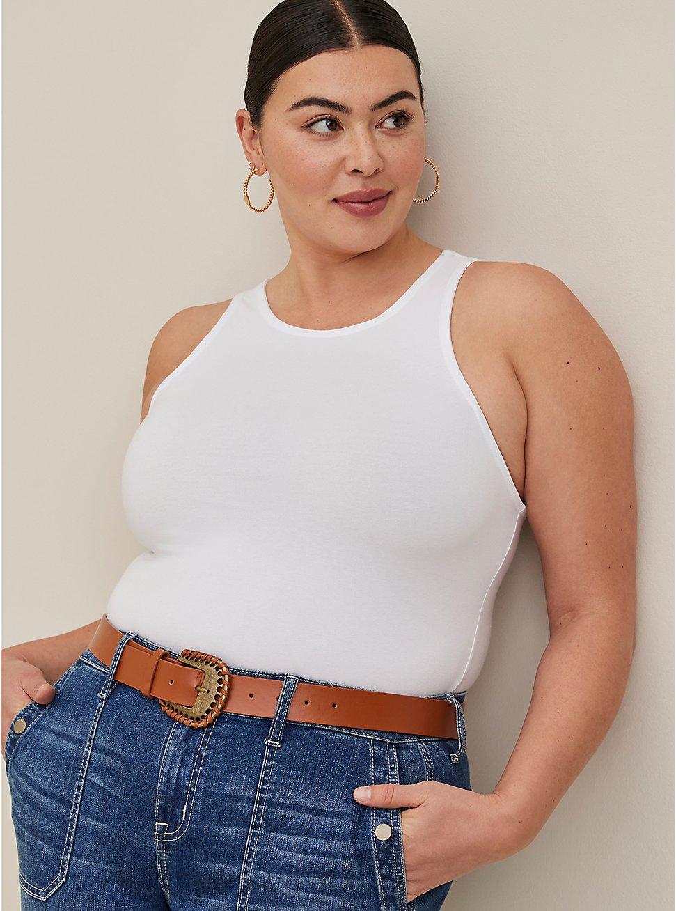 Plus Size White Goddess Foxy Tank, BRIGHT WHITE, hi-res