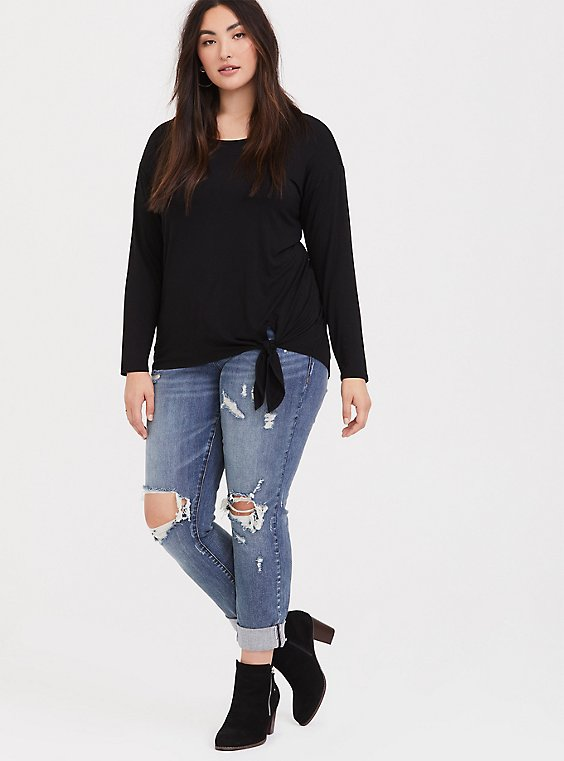 Super Soft Black Tie-Front Long Sleeve Tee, , hi-res