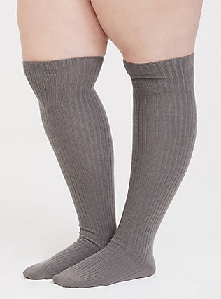 Plus Size Navy & Grey Over-The-Knee Socks Pack - Pack of 2, MULTI, alternate