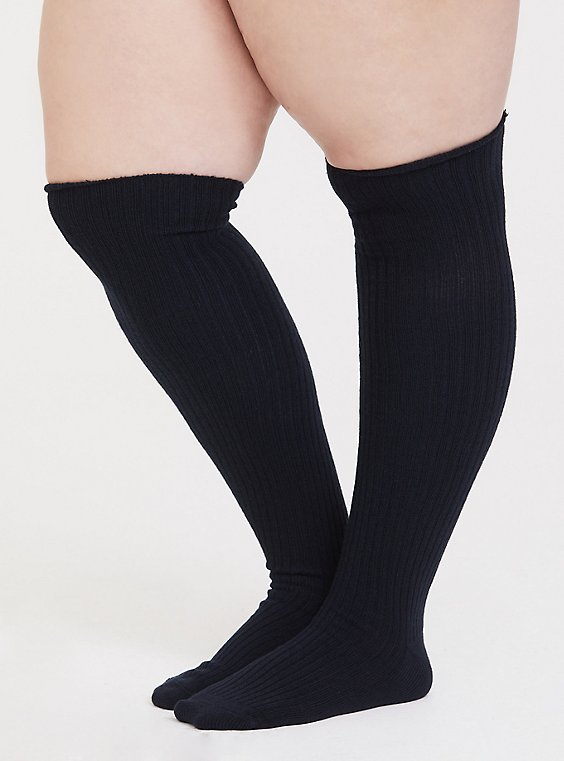 Plus Size Navy & Grey Over-The-Knee Socks Pack - Pack of 2, , hi-res