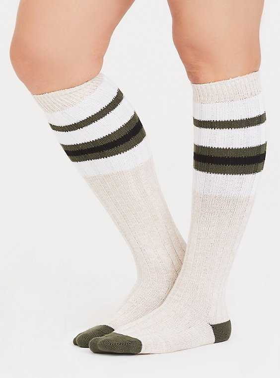 Tan & Olive Green Striped Knee High Socks, , hi-res